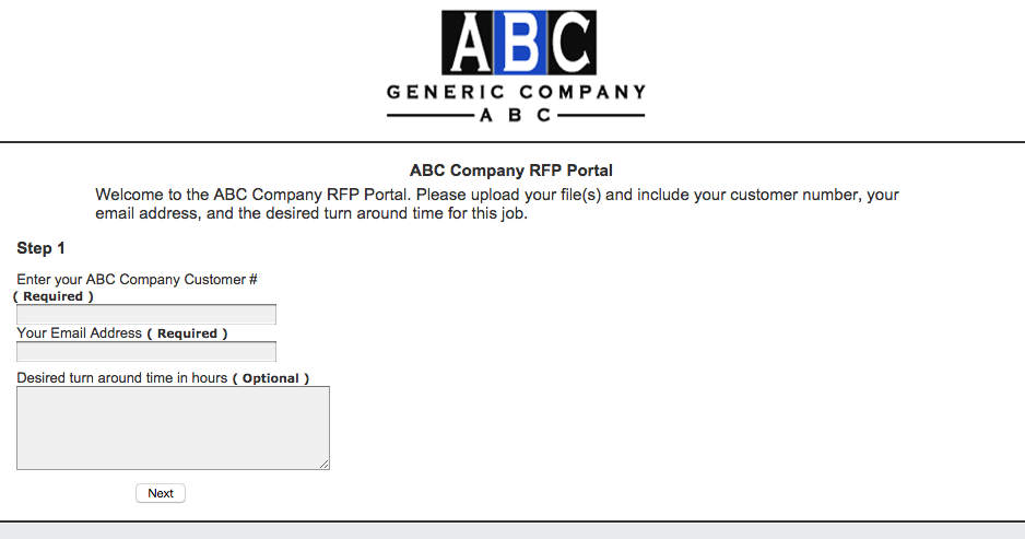 Customized Version of the Customer Upload Screen